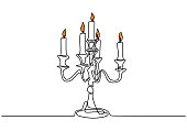 Continuous one line drawing of burning candle on chandelier. Vintage flame lantern minimalism design.