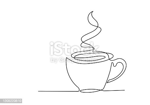 istock Continuous one line drawing of cup of coffee. 1205220510