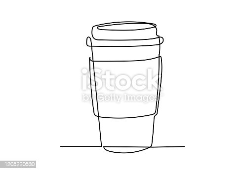 istock Continuous one line drawing of cup of coffee. 1205220530
