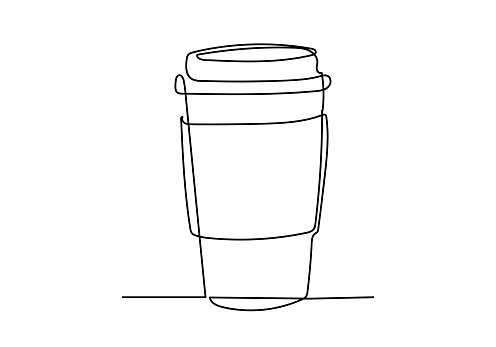 Continuous one line drawing of cup of coffee.