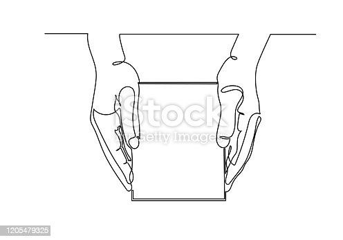 Continuous one line drawing of hand holding box package or gift box, vector illustration.