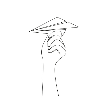 Continuous one line drawing of Hand throwing a paper plane. Origami airplane concept of startup new project in simple linear style. Vector illustration