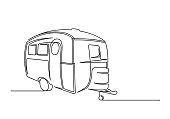 istock Continuous one line drawing of motorhome 1211563817