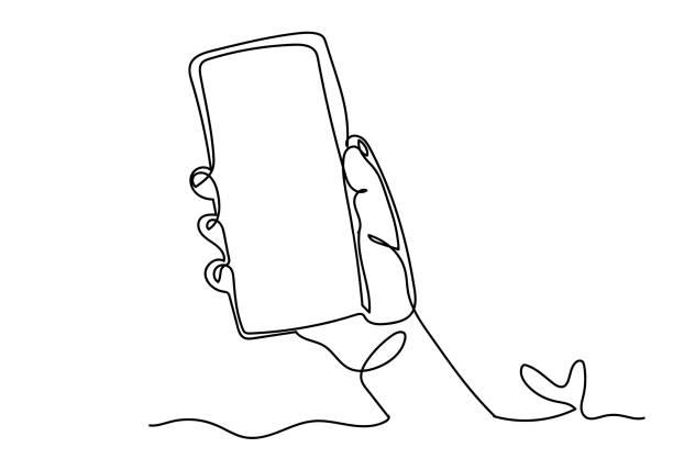 手持智慧手機的連續一行繪圖 - 一個物體 幅插畫檔、美工圖案、卡通及圖標
