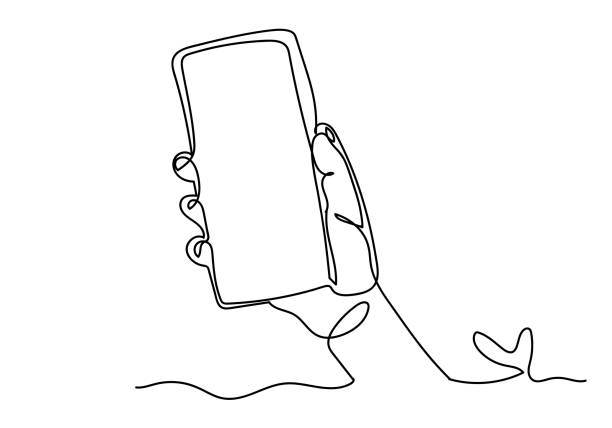 Continuous one line drawing of of hand holding smartphone Continuous one line drawing of of hand holding smartphone. single object stock illustrations