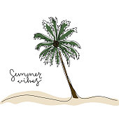 istock Continuous one line drawing of palm tree with coloring and handwritten text Summer Vibes. 1318485106