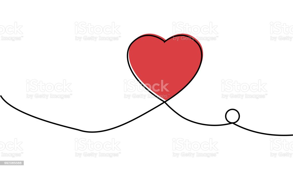Continuous one line drawing of red heart