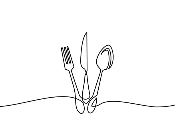 illustrazioni stock, clip art, cartoni animati e icone di tendenza di continuous one line drawing of restaurant logo. knife, fork and spoon. black and white vector illustration. - coltello posate
