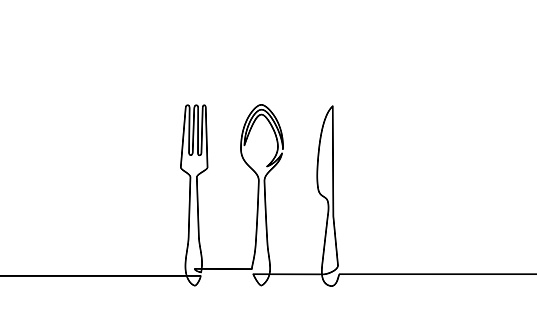 Continuous one line drawing of restaurant logo. knife, fork and spoon. Black and white vector illustration.