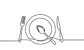 Continuous one line drawing of restaurant logo. plate, knife, fork and spoon. Black and white vector illustration.