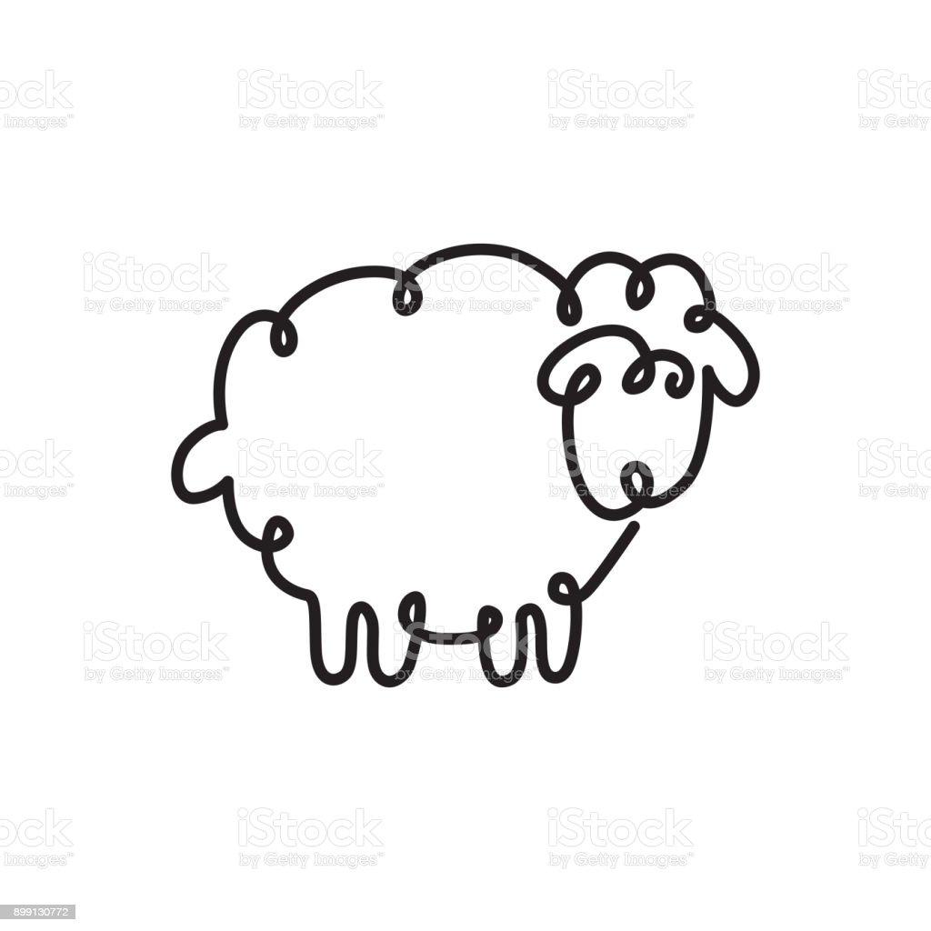 Line Drawing Sheep : Sürekli bir çizgi çizme koyun stok vektör sanatı