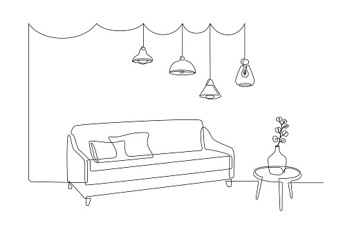 Continuous one line drawing of sofa and table with vase with monstera leaf and Hanging pendant Loft lamps. Scandinavian stylish furniture in simple Linear style. Doodle vector illustration