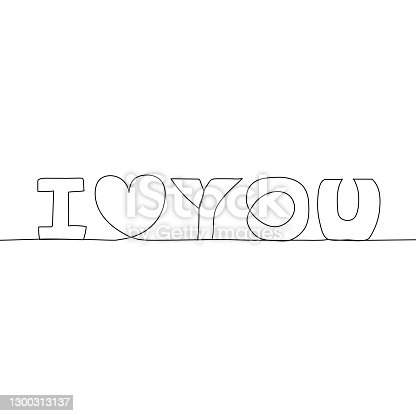 istock Continuous one line lettering text, I love you. Minimalism design. Vector illustration. 1300313137