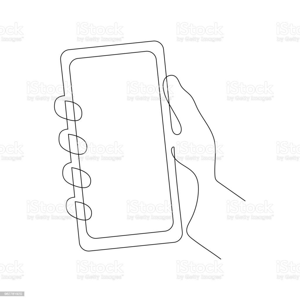 Continuous one line vector illustration of a hand holding smartphone - Grafika wektorowa royalty-free (Aplikacja mobilna)
