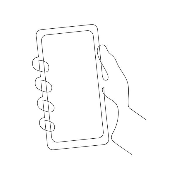 Continuous one line vector illustration of a hand holding smartphone Continuous one line illustration of a hand holding smartphone. Vector illustration isolated on white background. single object stock illustrations