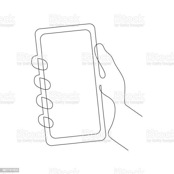 Continuous One Line Vector Illustration Of A Hand Holding Smartphone - Arte vetorial de stock e mais imagens de Aplicação móvel