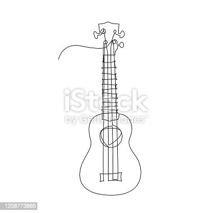 istock Continuous single-line vector illustration of ukulele. 1208773865