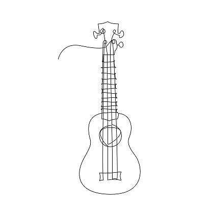 Continuous single-line vector illustration of ukulele.