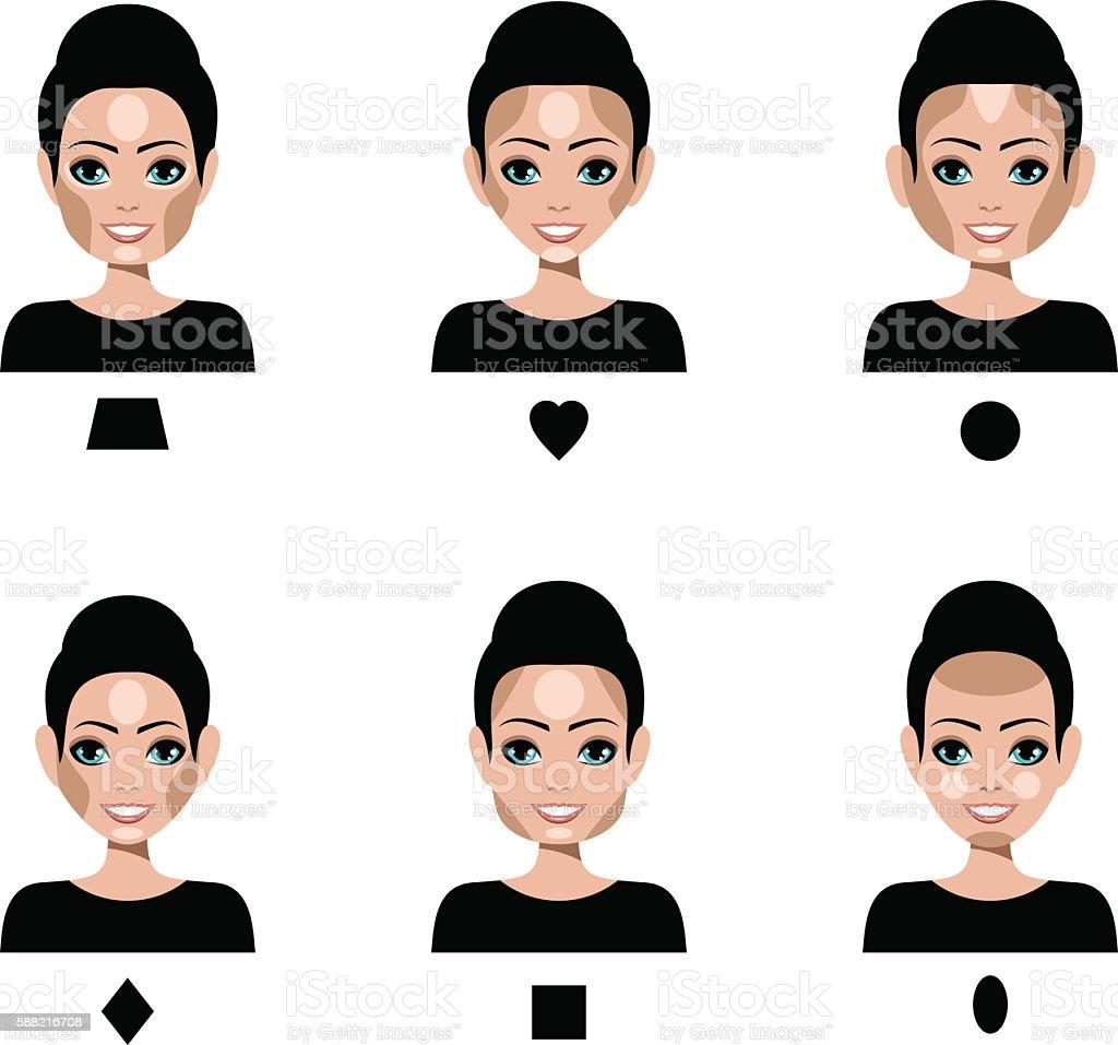 Contour and Highlight makeup vector art illustration