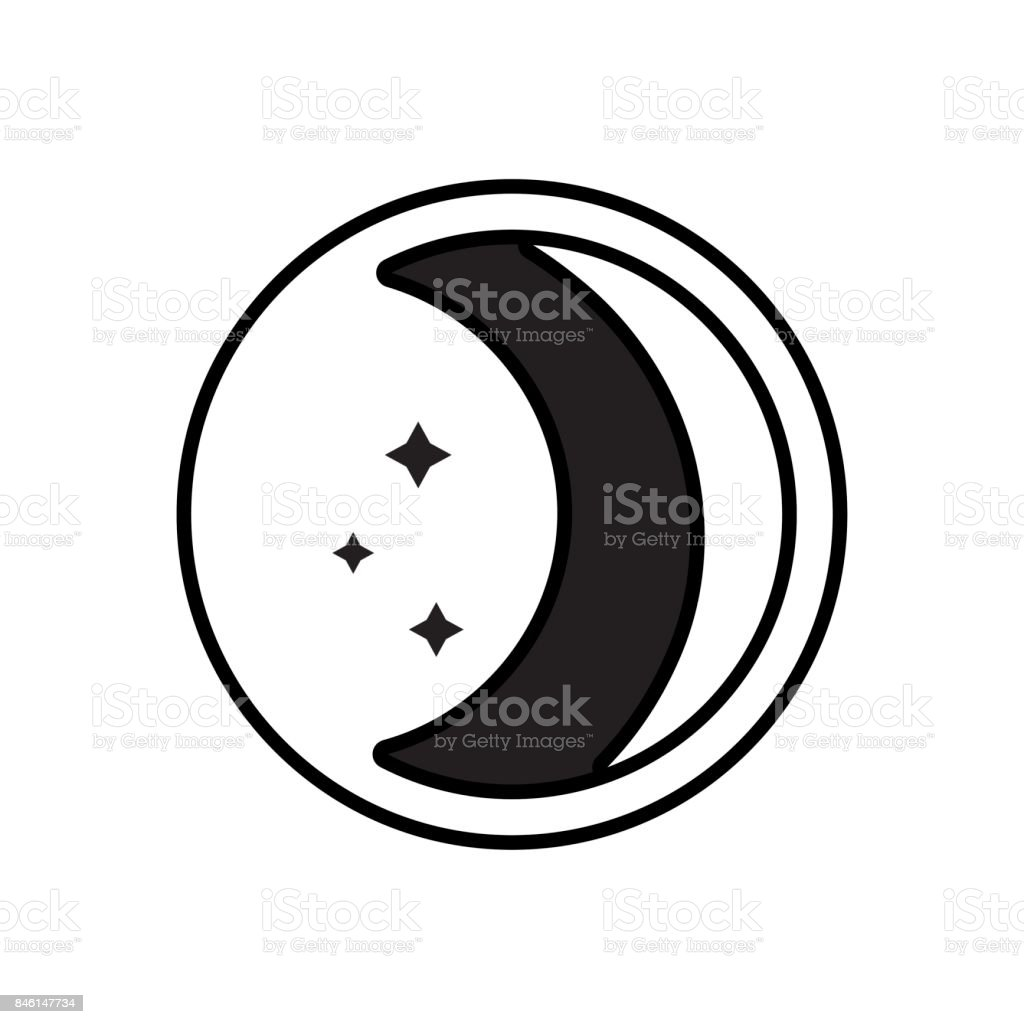 contour beauty moon natural satellite of the earth planet vector art illustration