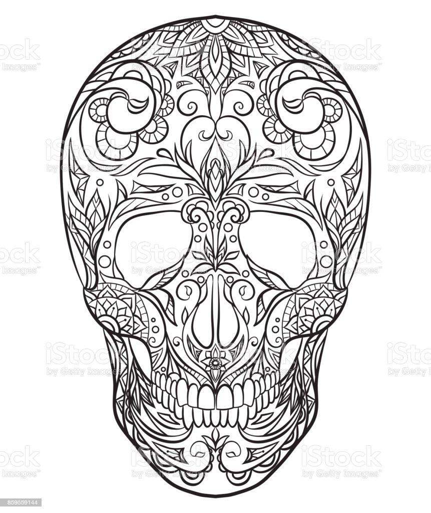 Ilustración De Ilustración Blanco Y Negro Contorno De Una Calavera