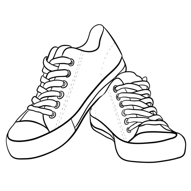 Contour black and white illustration of sneakers. Contour black and white illustration of sneakers. Vector element for your creativity shoe stock illustrations