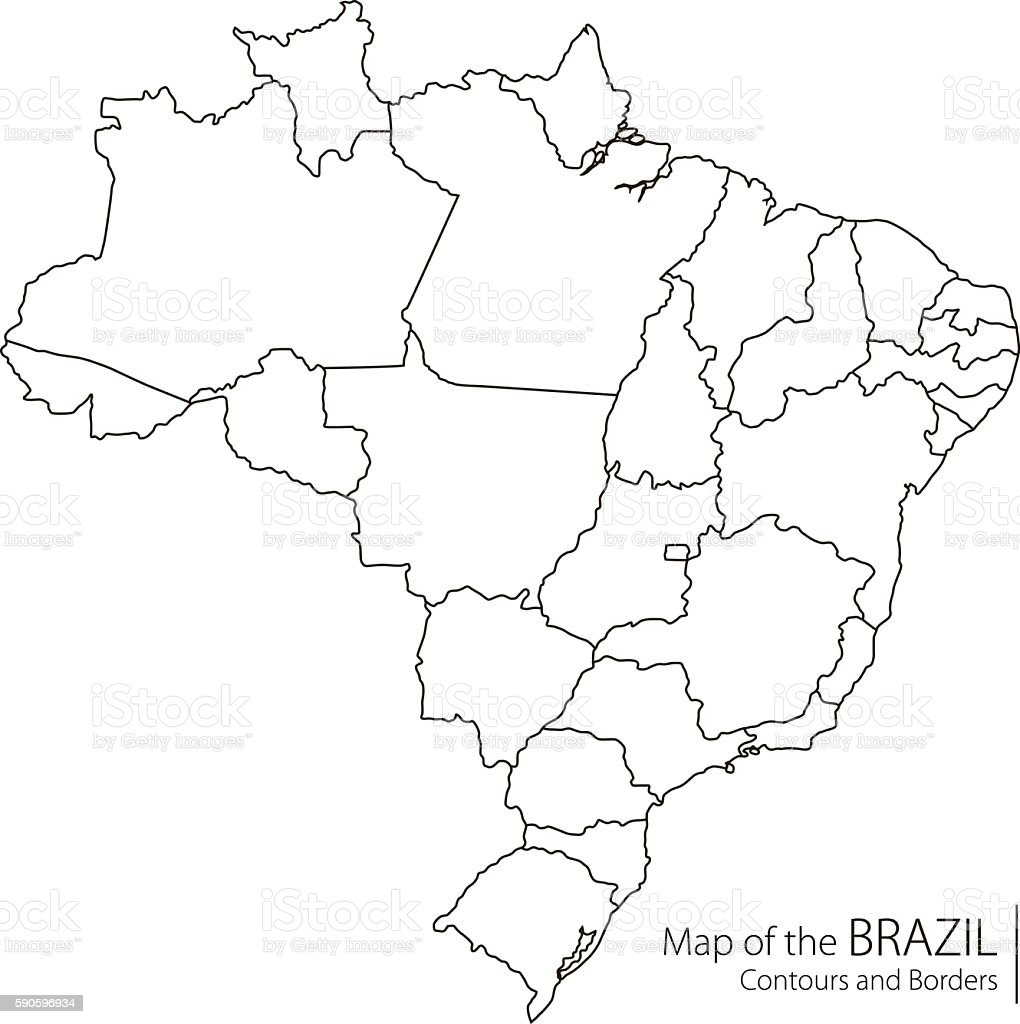 Contour Brazil Map Stock Vector Art IStock - Brazil map illustration