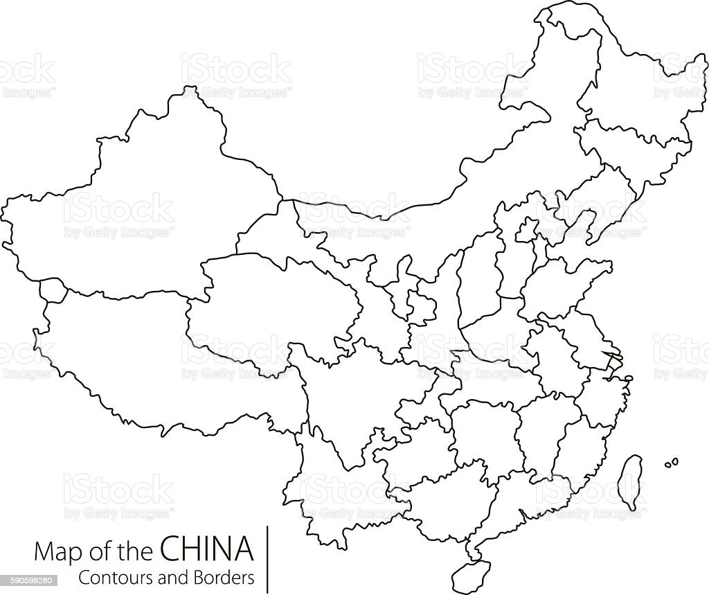 Contour China Map Stock Vector Art More Images of Beijing