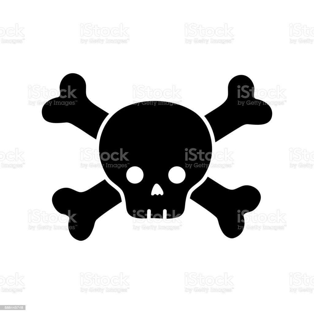 contour darger skull with bones to death symbol vector art illustration
