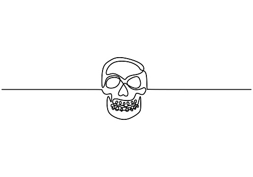 Contour drawing continuous one line with human skull. One single drawn line art doodle dead, horror, black, death, head, skull, human, face. Vector design isolated on white background