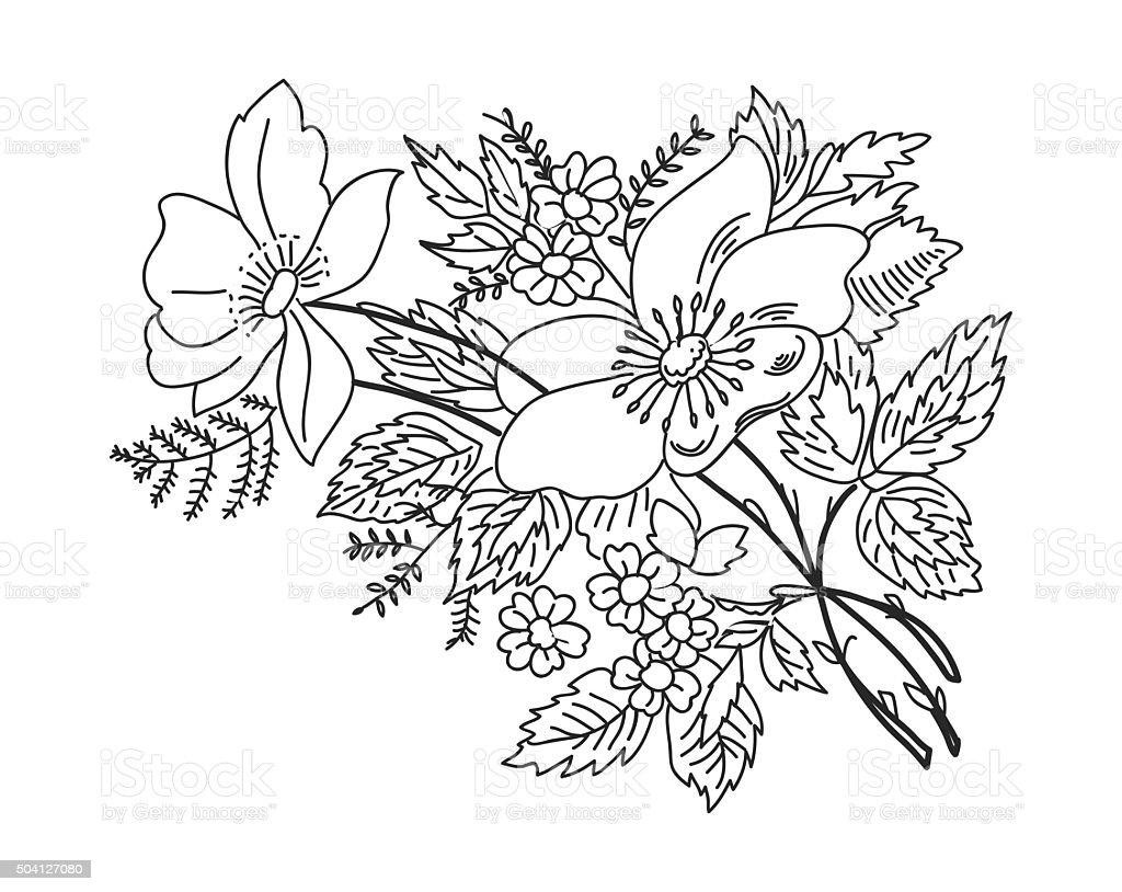 Desenho Do Contorno Flores De Ramos Preto Em Branco Arte