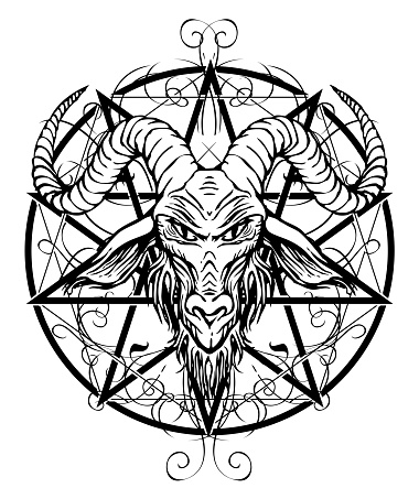 contour drawing of horned goat head and pentagram