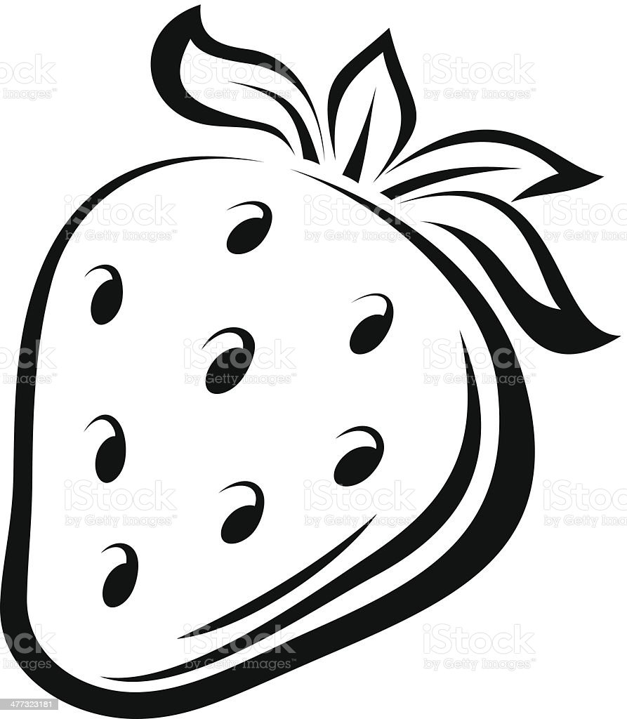 Contour drawing of strawberry vector illustration stock - Dessin contour ...