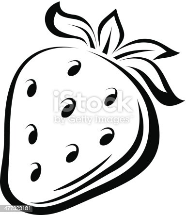 Contour Drawing Of Strawberry Vector Illustration stock ...