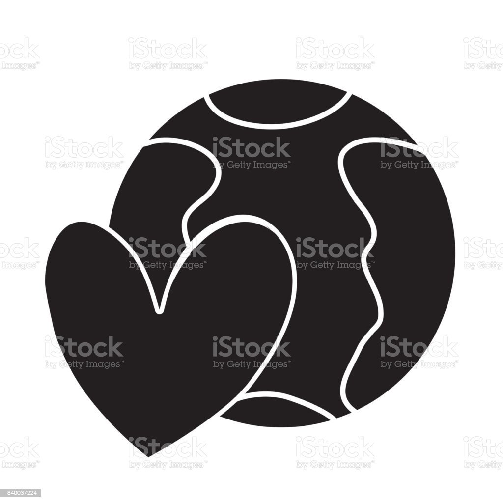 Contour Earth Planet With Heart Symbol Of Love Stock Vector Art
