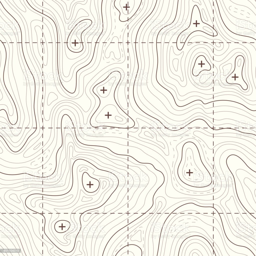 Contour elevation topographic seamless vector map vector art illustration
