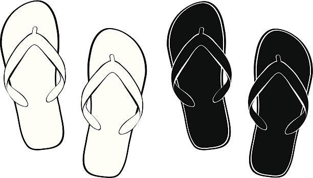 stockillustraties, clipart, cartoons en iconen met contour flip flops - slipper