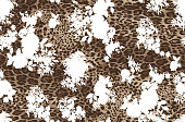 Contour flowers with animal skin pattern. Seamless vector background.
