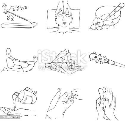 Contour Handdrawnconjunto De ícones De Massagem Tailandesa