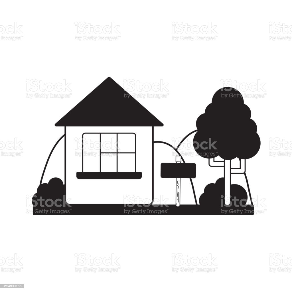 Contour Home With Design Next To Tree stock vector art 694839188 ...