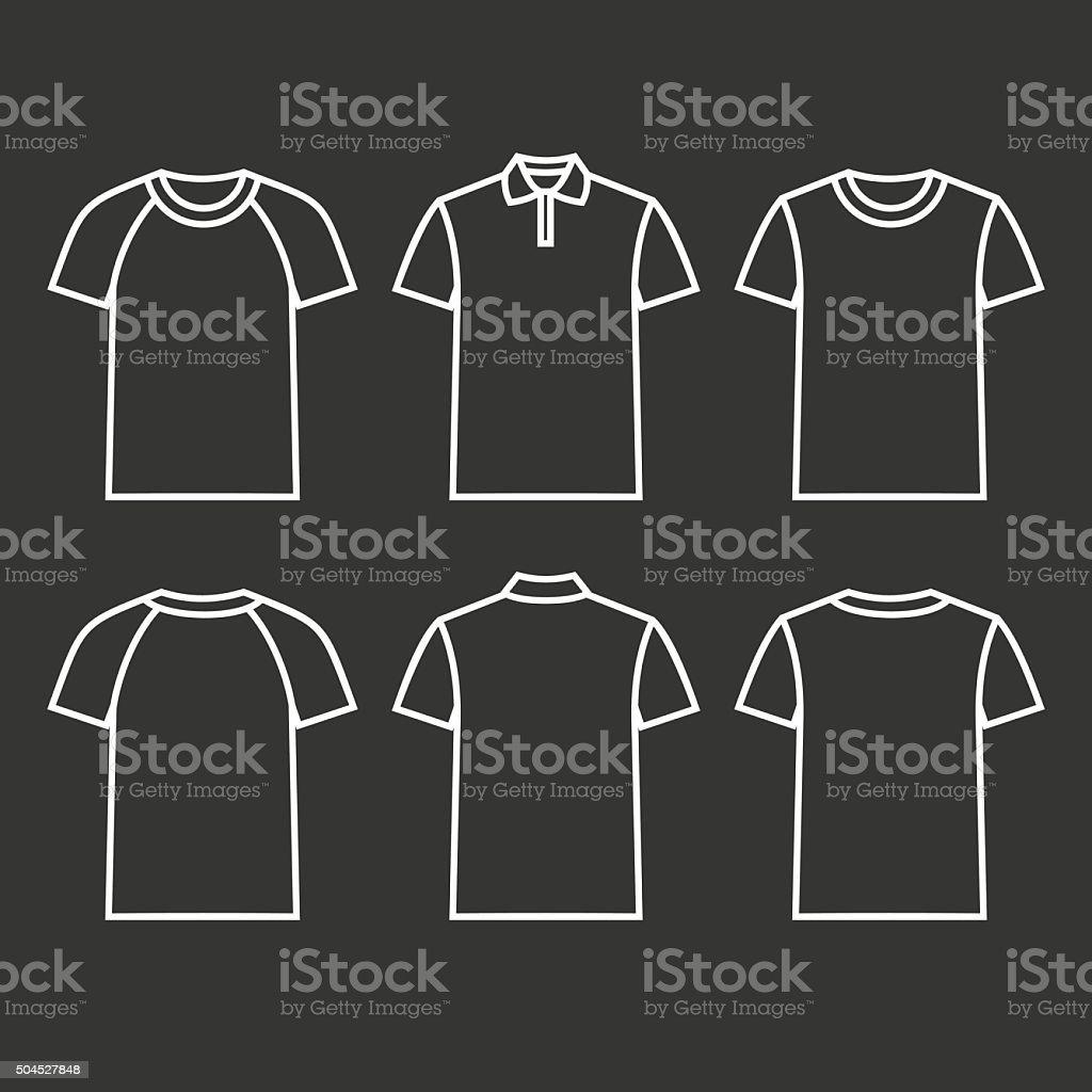 Contour icons t-shirts vector art illustration