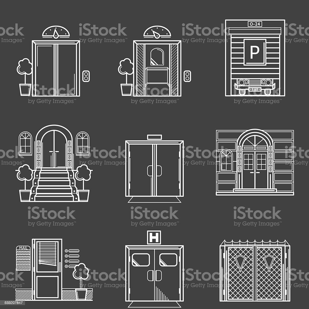 Contour icons vector collection of different types doors vector art illustration