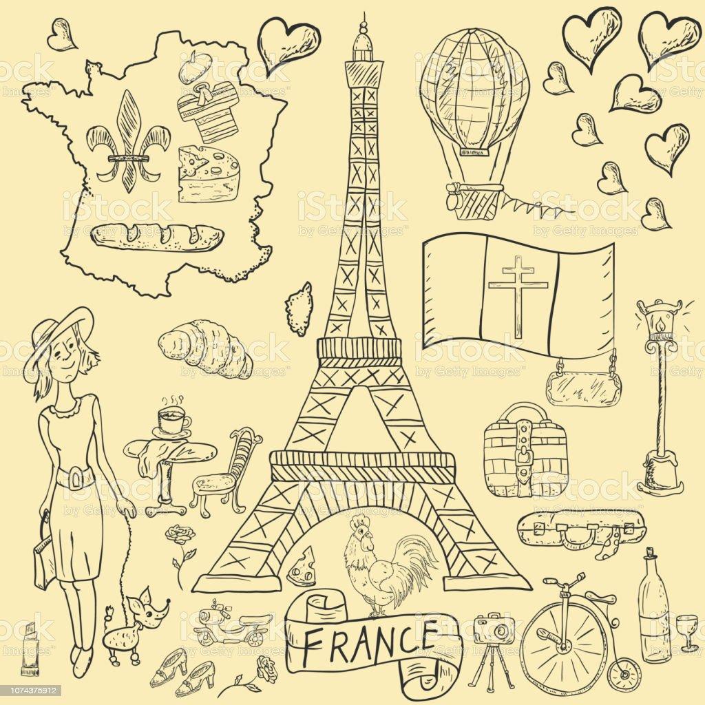 Dağılım çizim Boyama Travel8to Tasarım ülke Avrupa Fransa Semboller