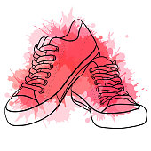 Contour  illustration of sneakers with watercolor splashes. Vector element for your creativity