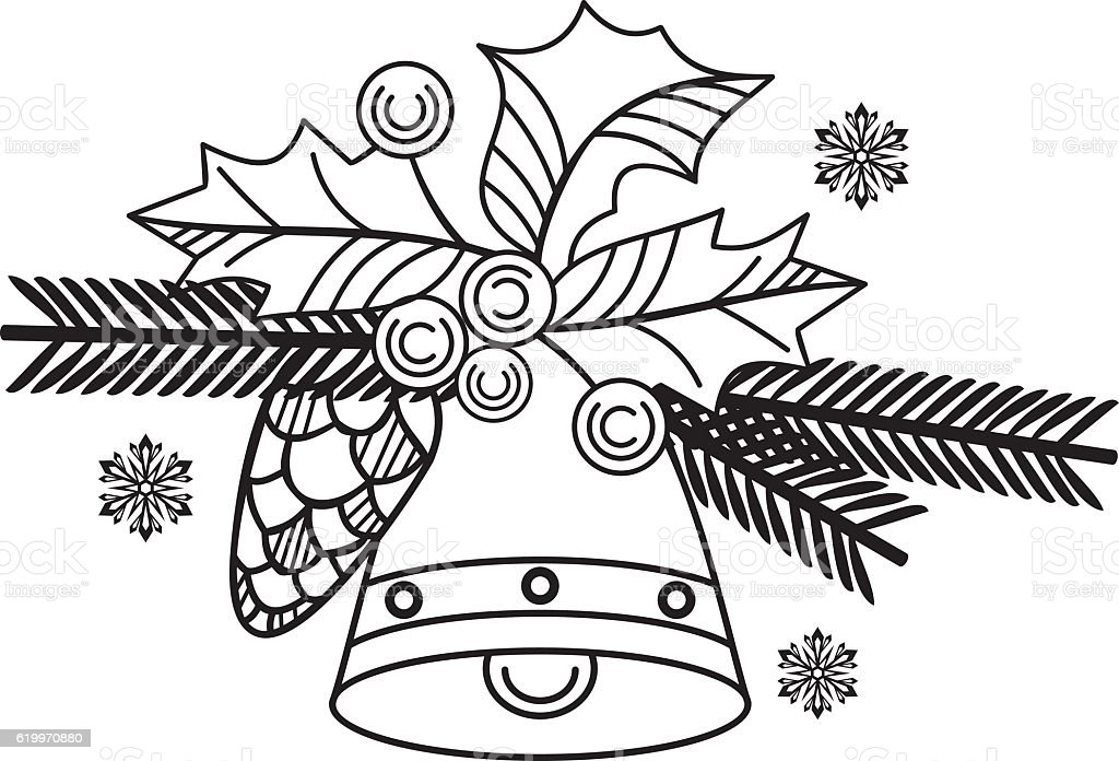 Contour image of Christmas bell.