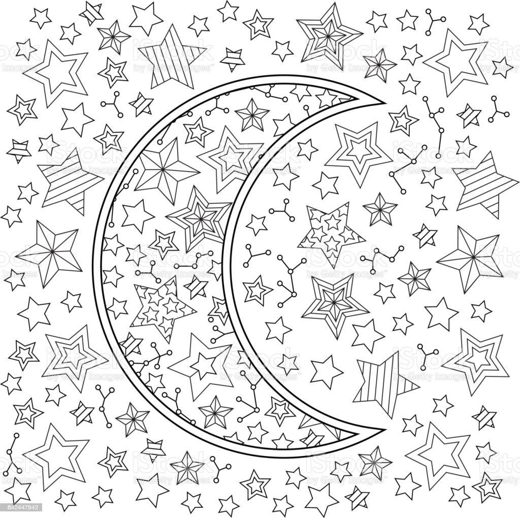 Kontur Görüntü Ay Hilal Ve Yıldız Doodle Tarzı Kare Kompozisyon Stok