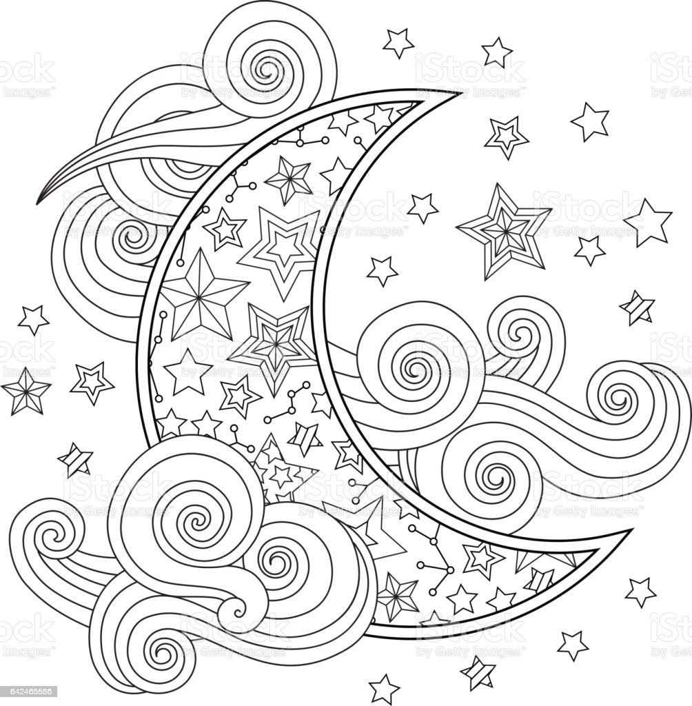 Kontur Goruntu Ay Hilal Bulutlar Yildiz Uzerinde Beyaz Izole