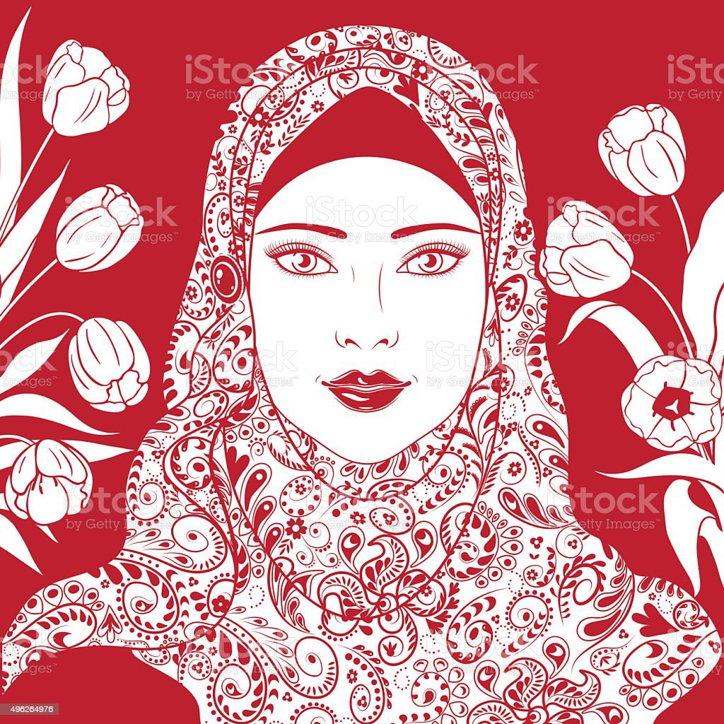 Contour Image of Muslim girl in hijab. vector art illustration