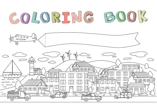 Contour image of town with houses, cars, plane and boat. Copyspace on a plane banner. Line vector illustration for coloring book. Cartoon style. Horizontal.