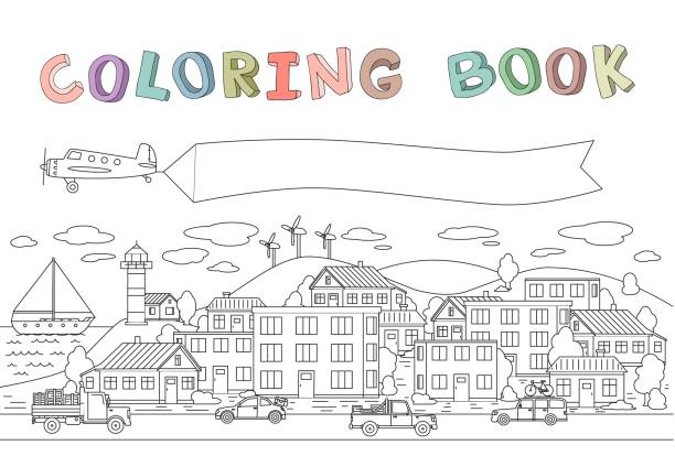 Contour image of town with houses, cars, plane and boat. Copyspace on a plane banner. Line vector illustration for coloring book. Cartoon style. Horizontal. vector art illustration